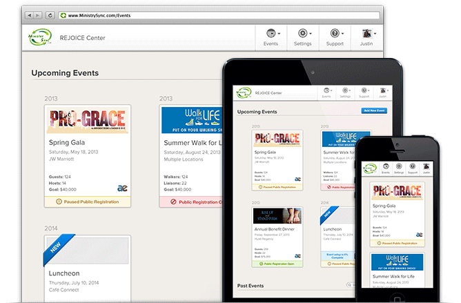 New Ministry Sync events page shown on a desktop browser, tablet and mobile phone.