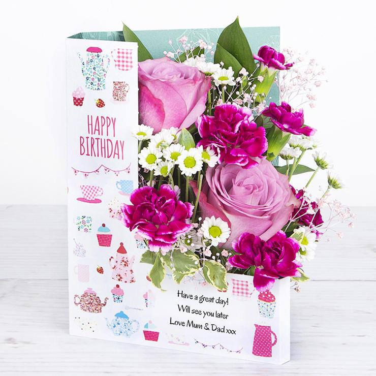 Happy Birthday Flowers In A Personalised Card Flowercard Sending Floral Hugs
