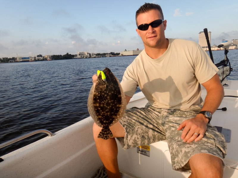 Fishing a grass line near deep water with a Berkley Gulp! Swimming Mullet, Kyle Perry caught this plate-filling flounder in Back Bay Biloxi.
