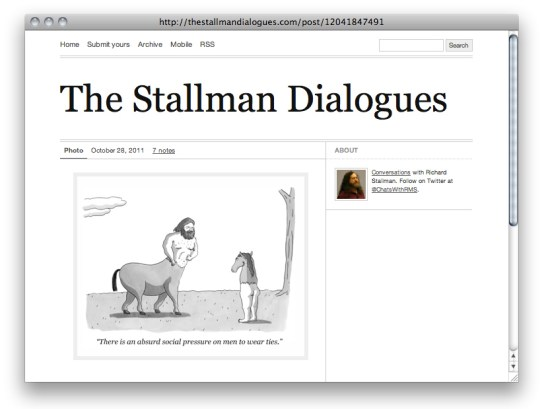 A screen capture of the site http://thestallmandialogues.com