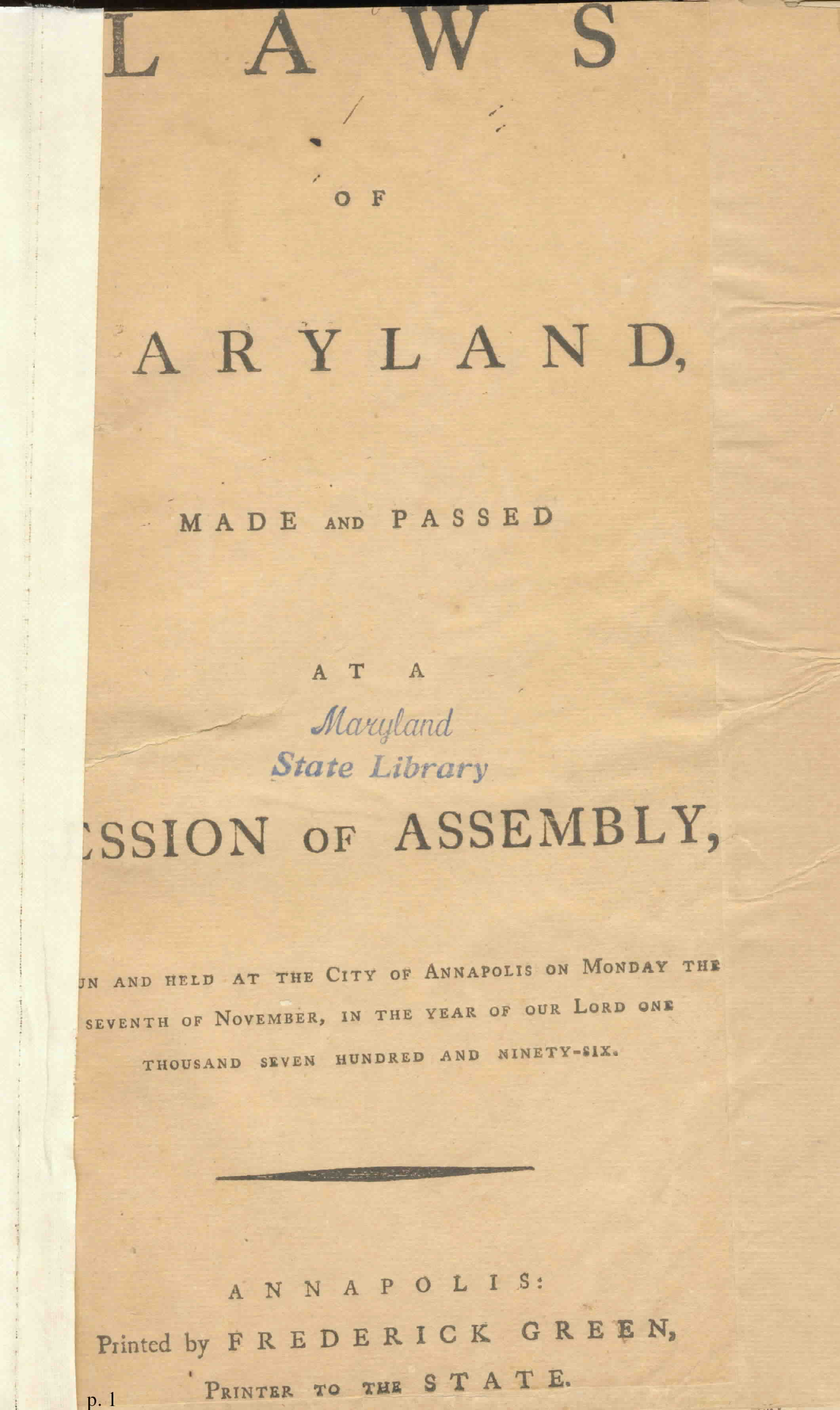Title Page Washington S Farewell Address In Maryland