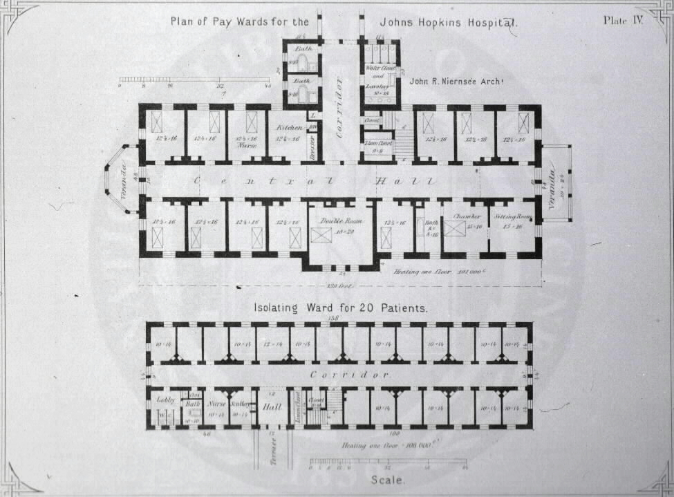 Johns Hopkins Hospital, Baltimore : [Floor plans of pay and isolation wards] / John R. Niernseé, Architect. Images from the History of Medicine Collection, Order No. A01876. National Library of Medicine, History of Medicine Division
