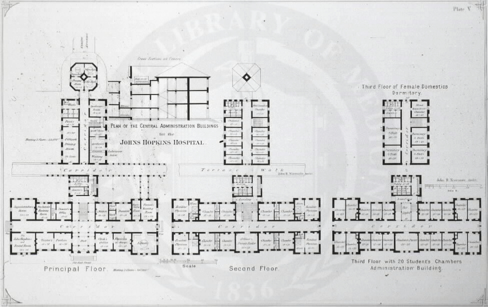 Johns Hopkins Hospital, Baltimore : [Floor plans of main administration building] / John R. Niernseé, Architect. Images from the History of Medicine Collection, Order No. A01879. National Library of Medicine, History of Medicine Division