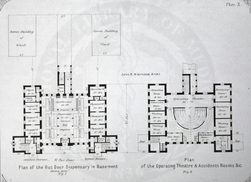 Johns Hopkins Hospital, Baltimore: [Amphitheatre and dispensary building]. John R. Niernsee, architect. Images from the History of Medicine Collection, Order No. A01884. National Library of Medicine, History of Medicine Division