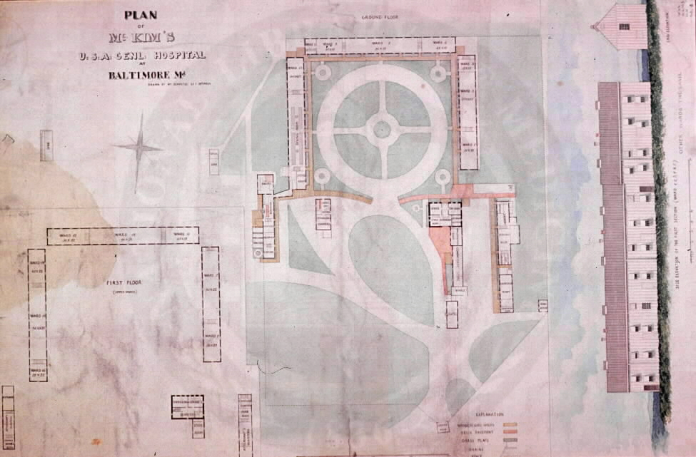 Plan of McKim's U.S.A. General Hospital at Baltimore. Images from the History of Medicine Collection, Order No. A027660. National Library of Medicine, History of Medicine Division