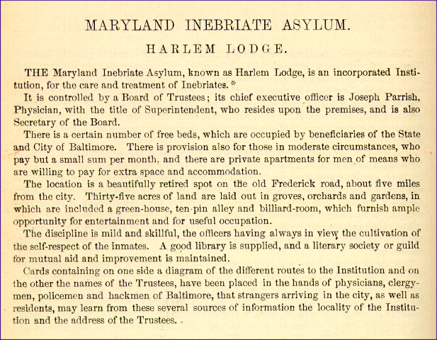 Maryland Inebriate Hospital [description]. Maryland State Archives