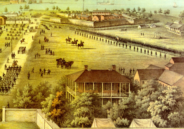 Edward Sachse, Fort McHenry (detail). Hospital is building in center foreground near main gate. Fort McHenry National Park and Historic Shrine