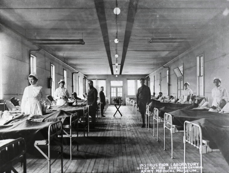 U.S. Army Base Hospital, Camp Meade, Maryland. : Surgical ward. A08879. Images from the History of Medicine Collection. National Library of Medicine