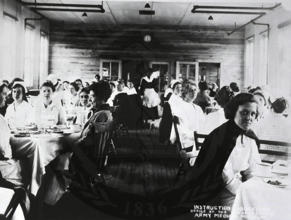 U.S. Army Base Hospital, Camp Meade, Maryland. : Dinner time for the nurses. A08880. Images from the History of Medicine Collection. National Library of Medicine