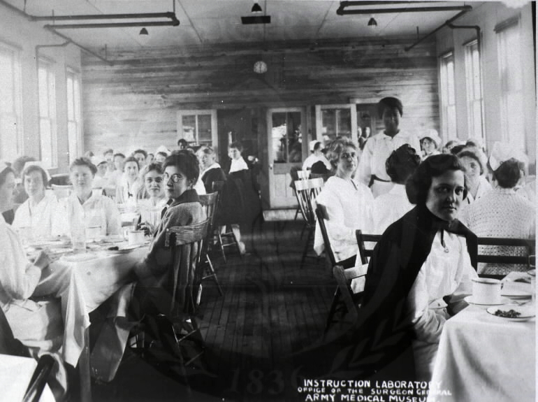 U.S. Army Base Hospital, Camp Meade, Maryland. : Dinner time for the nurses. A08881. Images from the History of Medicine Collection. National Library of Medicine