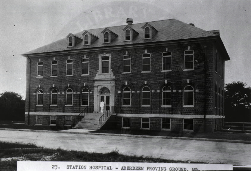 U.S. Army Station Hospital, Aberdeen Proving Grounds, Maryland. : Front view of hospital.  A08901. Images from the History of Medicine Collection. National Library of Medicine