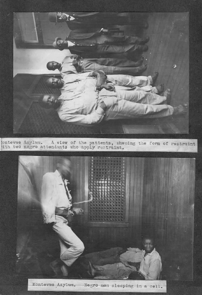 Montevue Asylum, African American males in restraint devices. 23rd Annual Report of the Maryland Lunacy Commission. Maryland State Archives