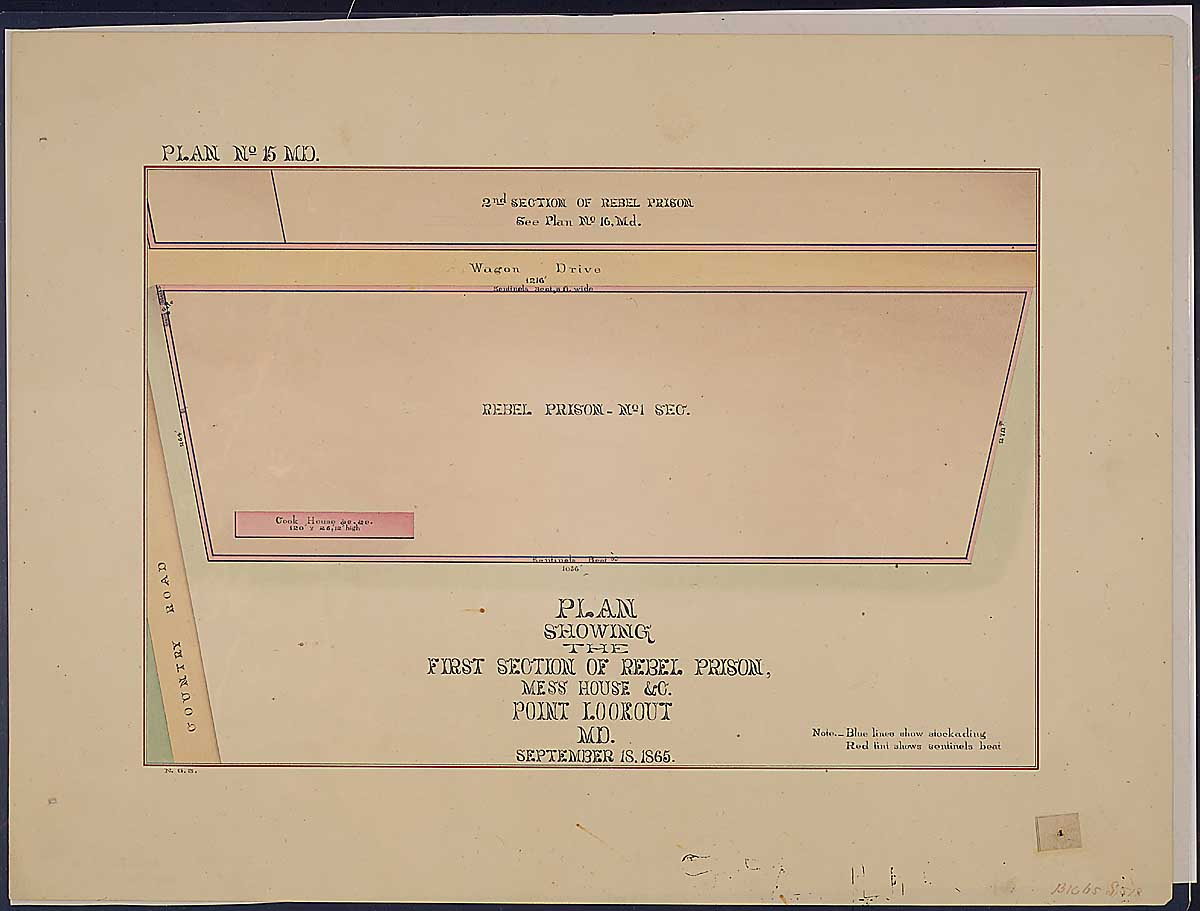Plan showing the First Section of Rebel Prison, Mess House & C. Point Lookout, MD. RG 92: Records of the Office of the Quartermaster General, 1774-1985, ARC Identifier 305824 / Local Indentifer 92-PR-MAP57. National Archives, Washington, DC