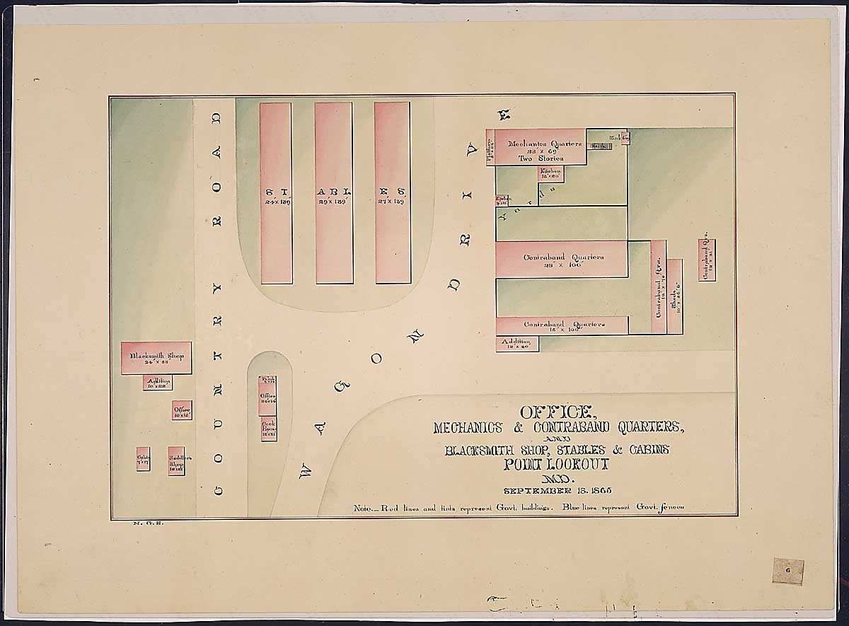 Office, Mechanics & Contraband Quarters, and Blacksmith Shop, Stables & Cabins Point Lookout, MD. RG 92: Records of the Office of the Quartermaster General, 1774-1985, ARC Identifier 305824 / Local Indentifer 92-PR-MAP57. National Archives, Washington, DC