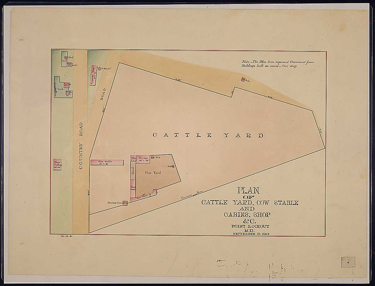 Plan of Cattle Yard, Cow Stable and Cabins, Shop & c. Point Lookout, MD. RG 92: Records of the Office of the Quartermaster General, 1774-1985, ARC Identifier 305824 / Local Indentifer 92-PR-MAP57. National Archives, Washington, DC
