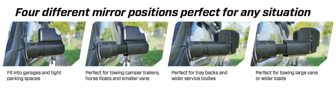 Four Mirror Positions of MSA 4X4 Towing Mirrors