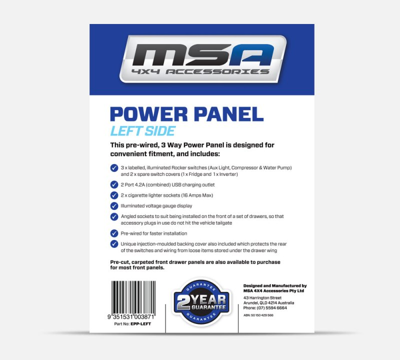LEFT BACK SIDE - Power Panel Packaging for Explorer Aluminium Drawer Systems - MSA 4X4 Accessories Product