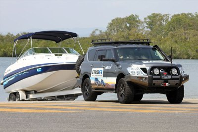 Nissan Patrol Y62 Launching Ski Boat with MSA Towing Mirrors