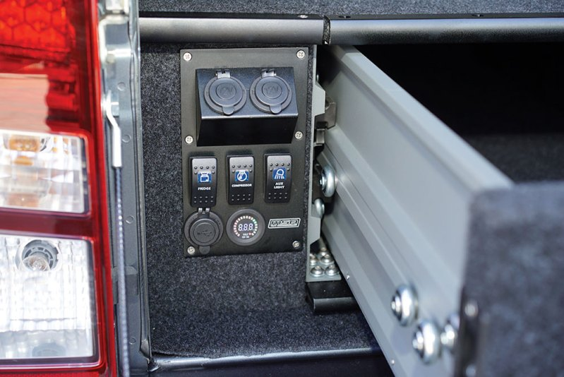 Power Panel Installed in Explorer Aluminium Drawer System - MSA 4X4 Accessories