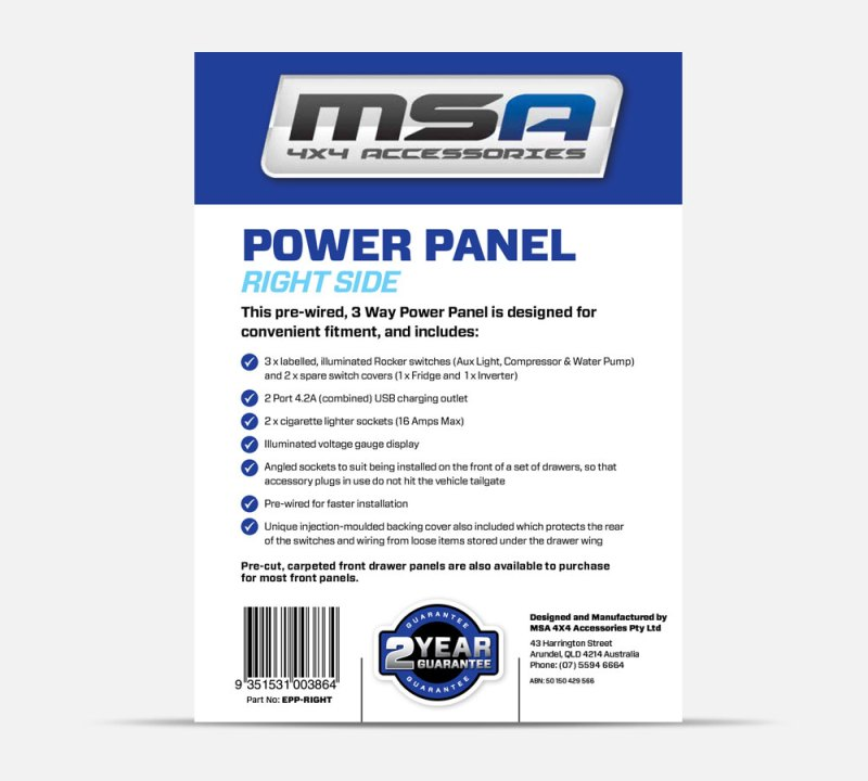 RIGHT BACK SIDE - Power Panel Packaging for Explorer Aluminium Drawer Systems - MSA 4X4 Accessories Product