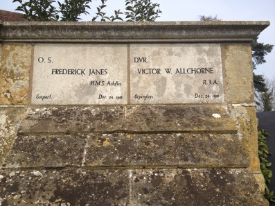The final plaques on the memorial commemorate two men who died at sea on Christmas Eve 1918, weeks after the Armistice. I wonder what happened.