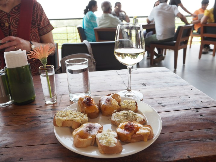 Cheese on toast, Sula style, in the balcony wine bar with a Sauvignon.