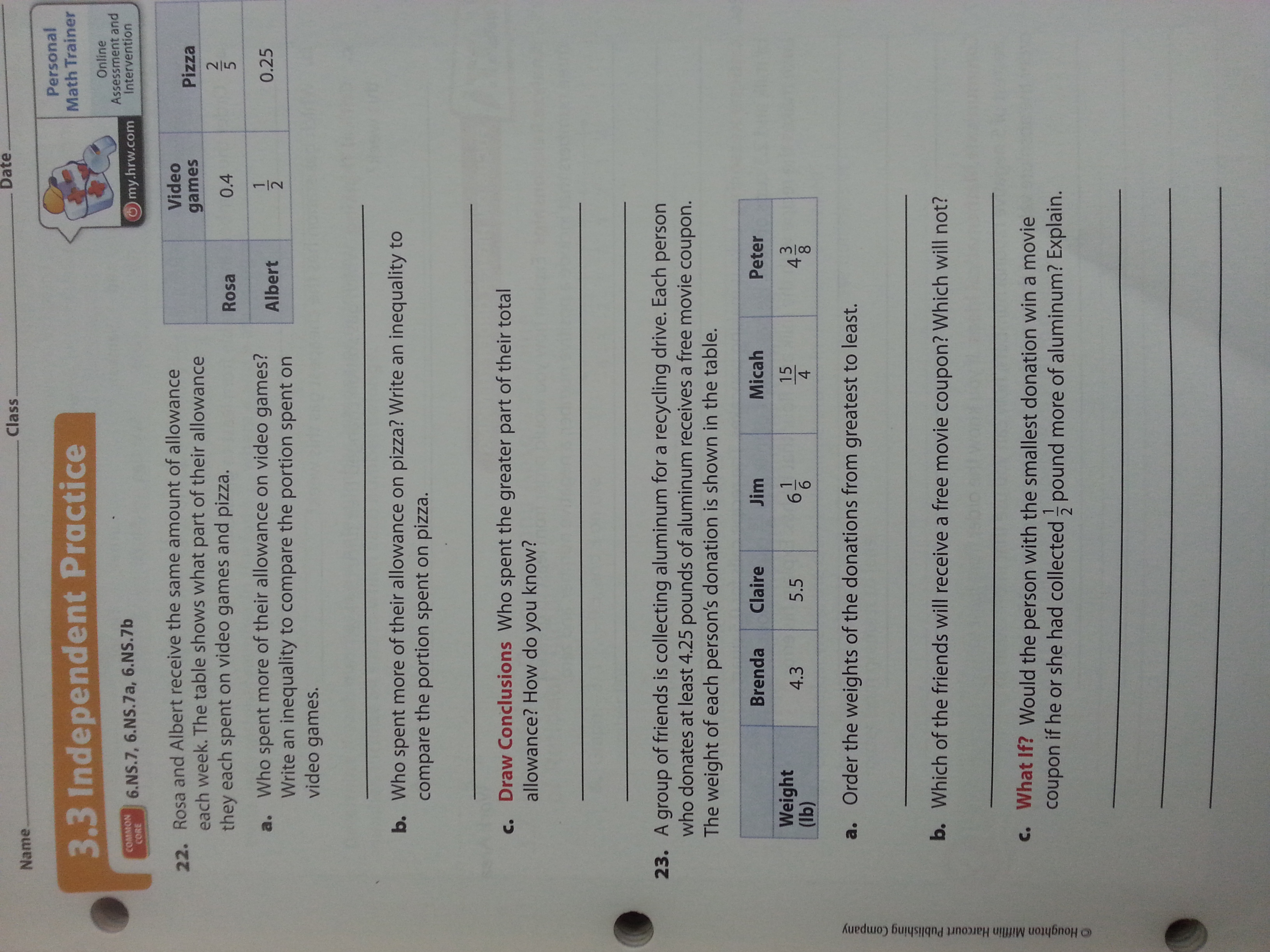 Independent Practice Go Math 7th Grade Answer Key
