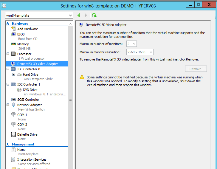Getting started with RemoteFX vGPU on Windows Server 2012 R2