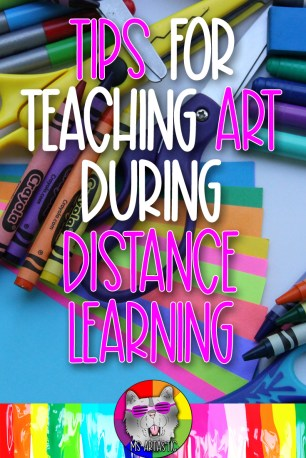 Teaching during Distance Learning is going to be oh so challenging for teachers. There is not one model to follow. Some are teaching in class and might be going remote later, or will start remote then will switch to in class. Some teachers are teaching on a cart and remotely. There are full remote learning models and there are hybrid models. All of this adds to confusion and stress because we're not all in the same boat together and instead it feels like were drifting on a raft in the middle of the ocean and the winds just picked up and the sharks have arrived. At times, it even feels like the raft is just breaking apart. Here are my tips for teaching art during Distance Learning or Remote Learning.