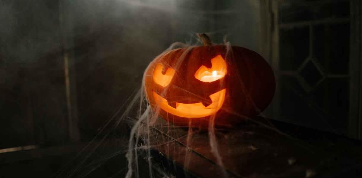 jack o lantern covered in spider web