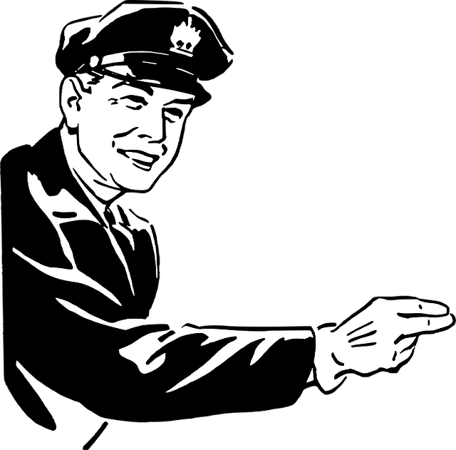 """Cartoon cop pointing to anyone, saying, """"You, Sir, are an asshole!"""