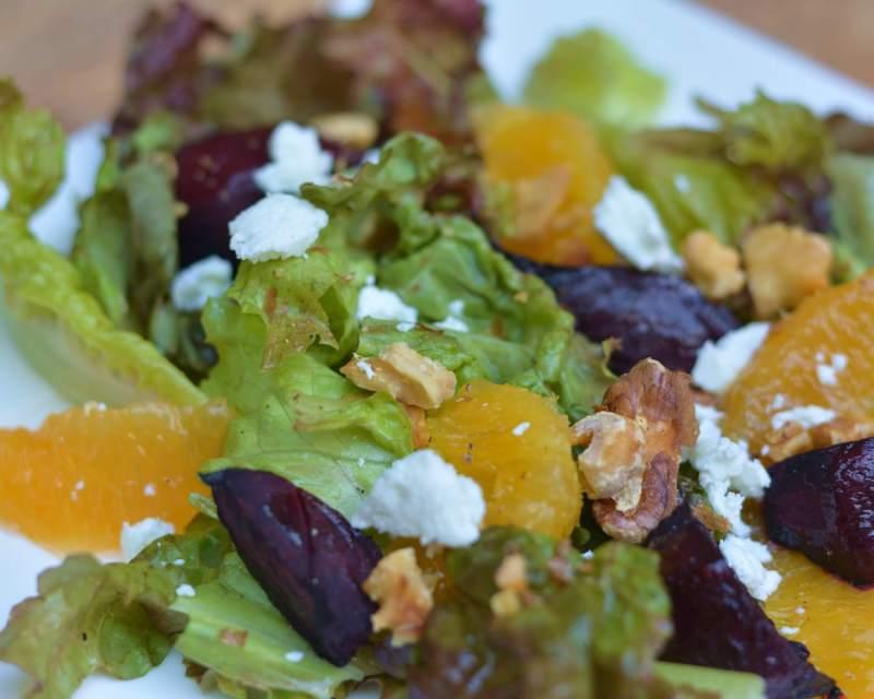 Roasted Beet, Orange, Walnut and Goat Cheese Salad