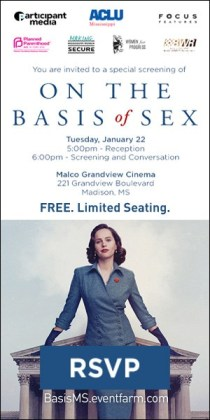 "MBWR cosponsors free screening of movie ""On the Basis of Sex"""