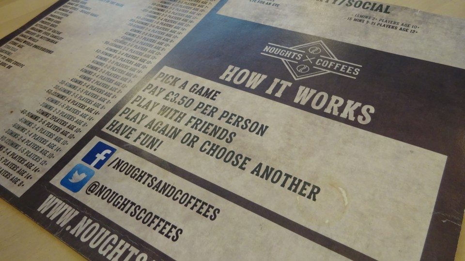 Board game menu at Noughts and Coffees from our 24 hours in Edinburgh
