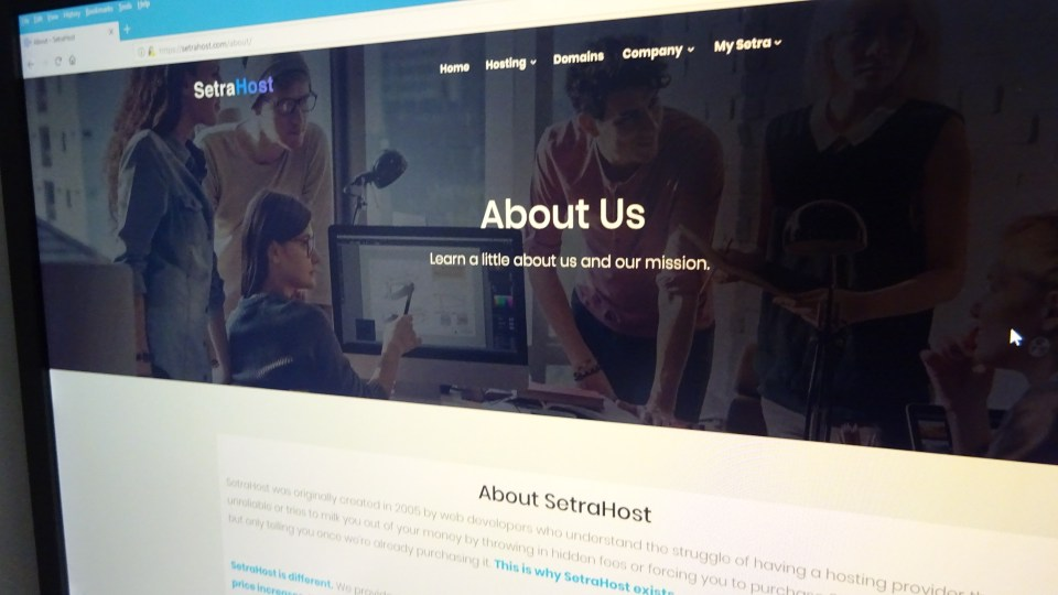 SetraHost Website About Us Page