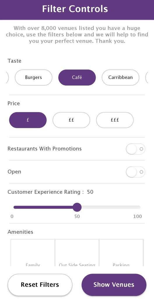 GoOutLondon App Filters