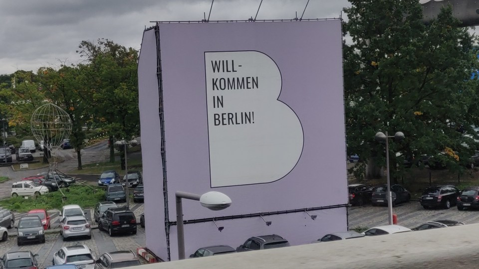 Photo of a 'willkommen in Berlin' sign that I visited during the age of 19.