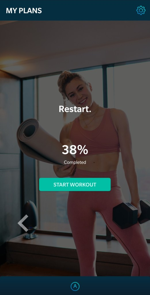 Screenshot of 38% done of Restart training guide