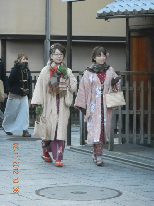 Some girls wearing kimono (traditional clothes)