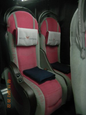 Bus interior is also in pink.