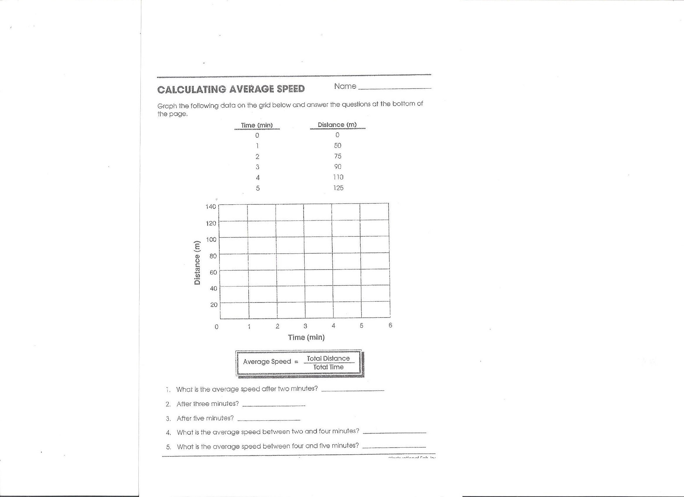 Speed Velocity And Acceleration Calculations Worksheet