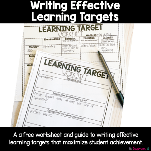 Writing Learning Targets A Formula For Success Ms Carmen B