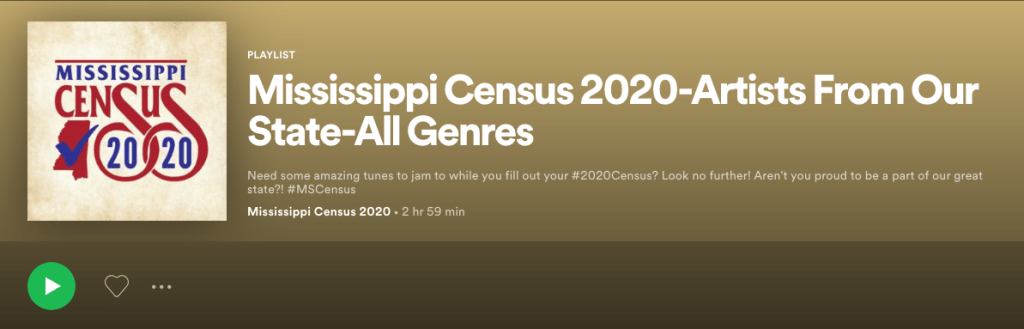 2020 Mississippi Census Spotify Playlist