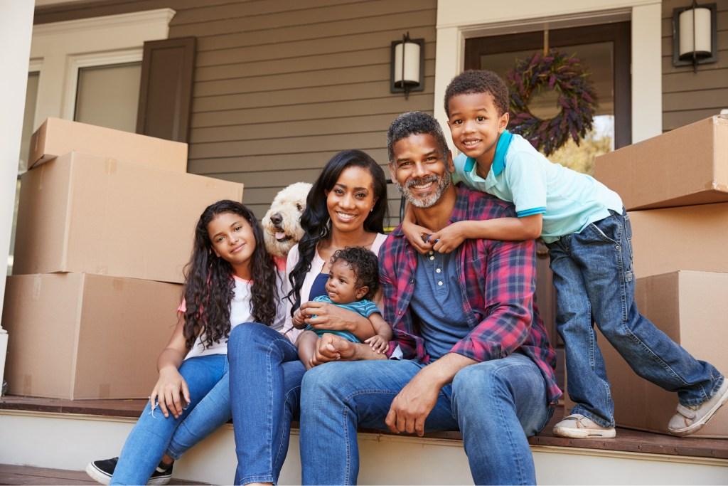 Family Outside empty house