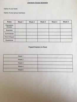 Literature circles schedule