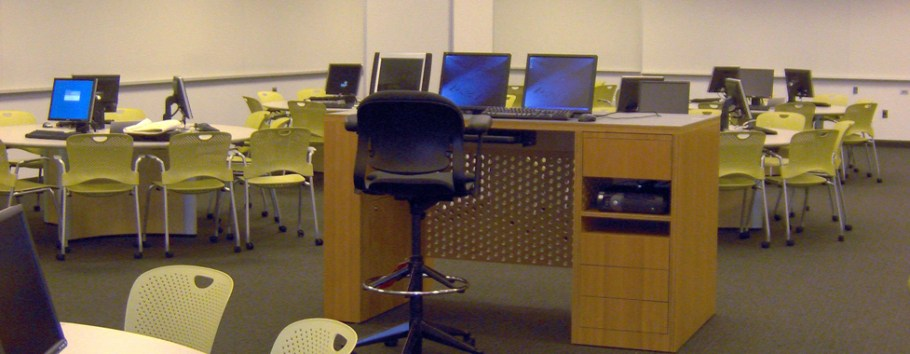 photo of classroom with custom cabinetry for computer displays