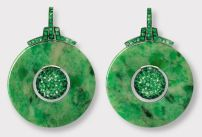 Hemmerle Tsavorite garnets jade earrings