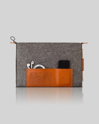 Retro wool felt and leather case for laptop in 13""
