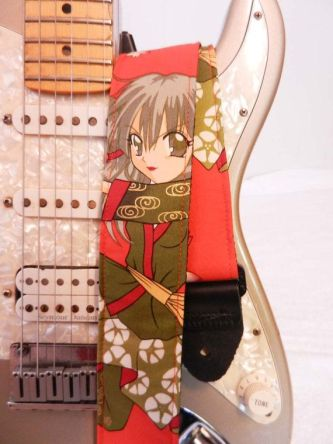 thunderflower red anime manga guitar strap