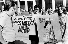 "On September 7, 1968, 400 women protested the Miss America Pageant, burning high heels, makeup, girdles and bras in a ""freedom trash can."""